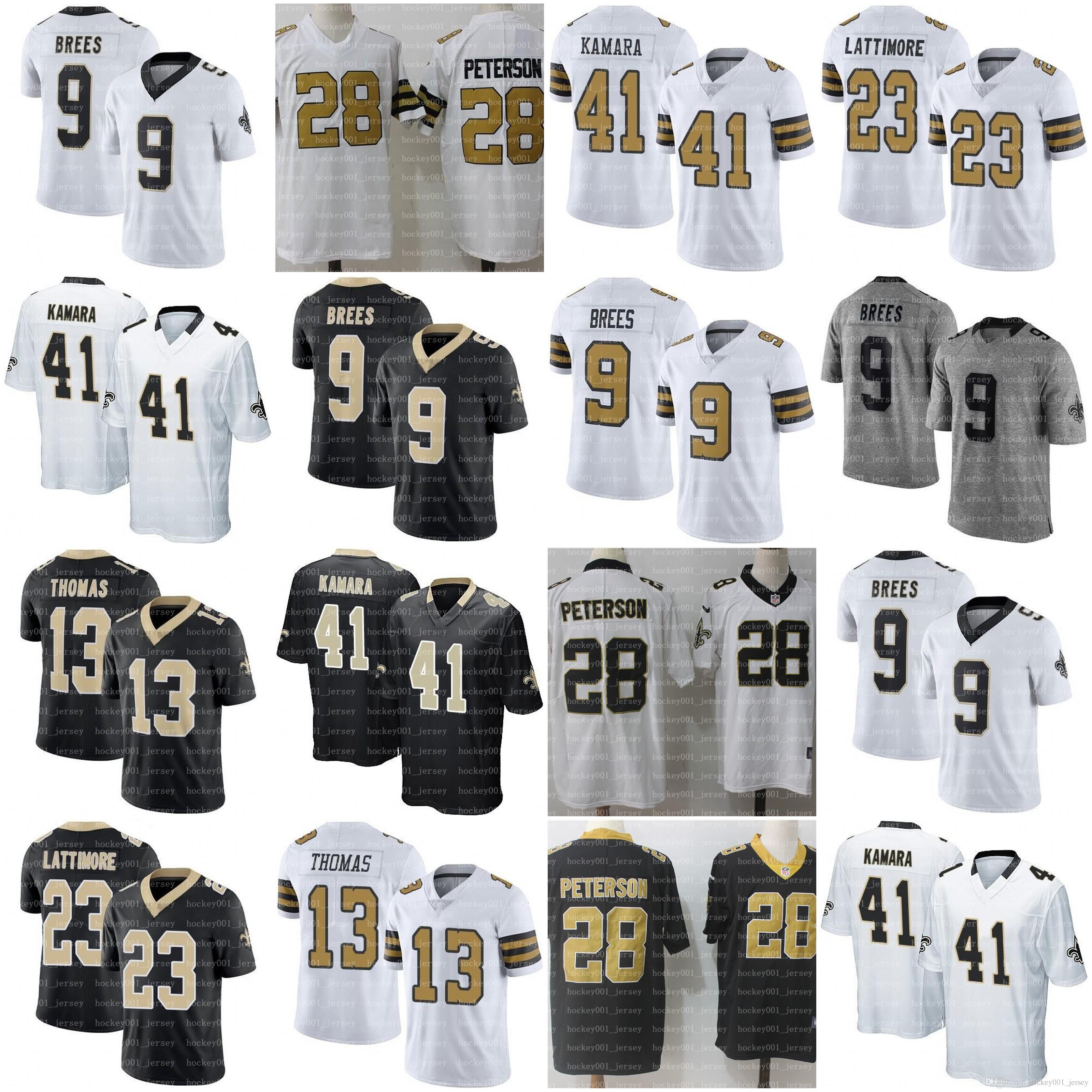 cheaper 231d9 7ac63 Men New Orleans 9 Drew Brees Jerseys 41 Alvin Kamara Saints 23 Marshon  Lattimore 13 Michael Thomas 7 Taysom Hill football jerseys
