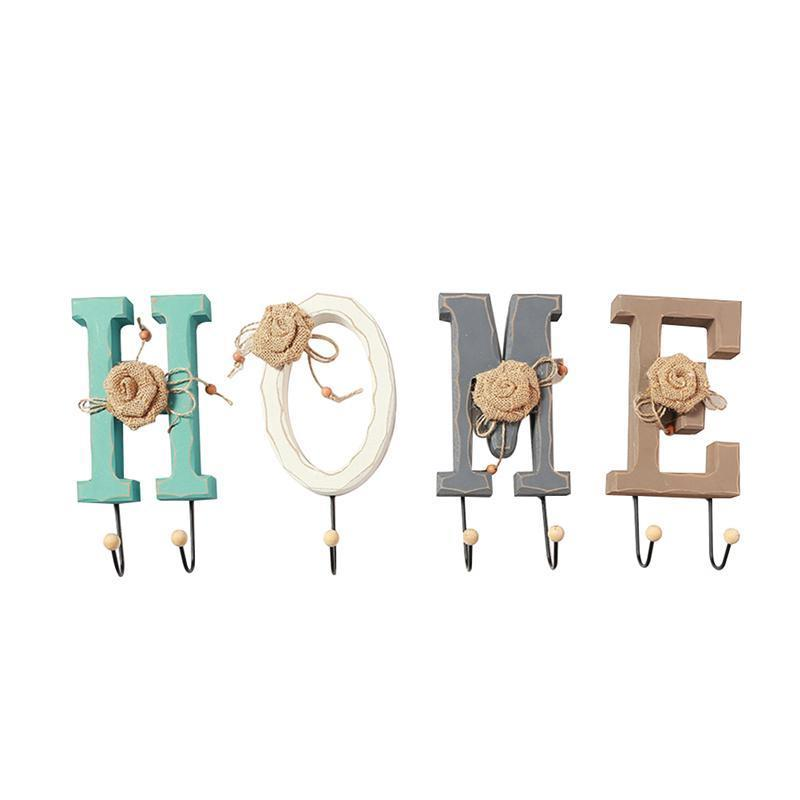 Decorative English HOME Letters Hooks Wooden Creative English Letters Vintage Coat Wall Hooks Hat Key Hook for Home Decoration