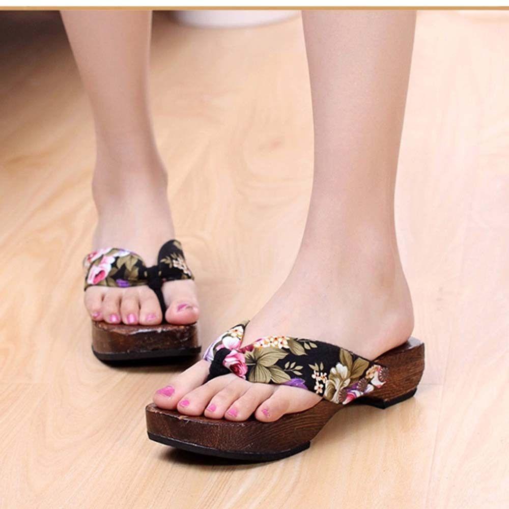 19c88650b98b2 2019 New Flip Flops In Women S Slippers Summer Platform Shoes Wood Women  Sandals Clog Wooden Slippers Flip Flops Latest Models   Thigh High Boots  Booties ...