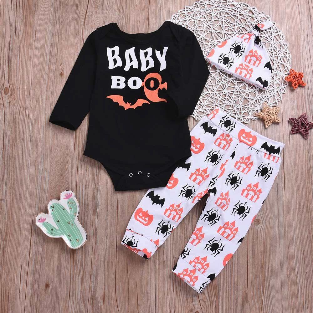 2cc2662ac28f 2019 Good Quality Newborn Baby Clothing Set Halloween Clothes Sets Tops  Cartoon Prin Pants Cap Kids Winter Clothes Roupas Menina From Westbit12, ...
