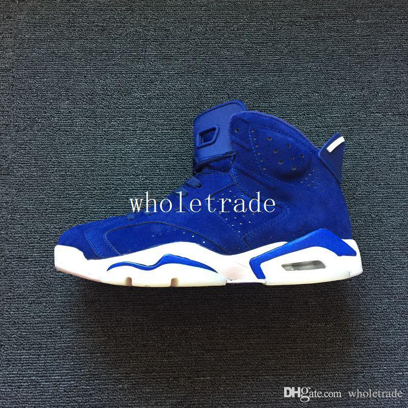 b211f58c0e6adc 6 Royal Blue Suede Basketball Shoes Mens 6s Blue Sneakers Size Us 8 13  Girls Basketball Shoes Best Basketball Shoes From Wholetrade