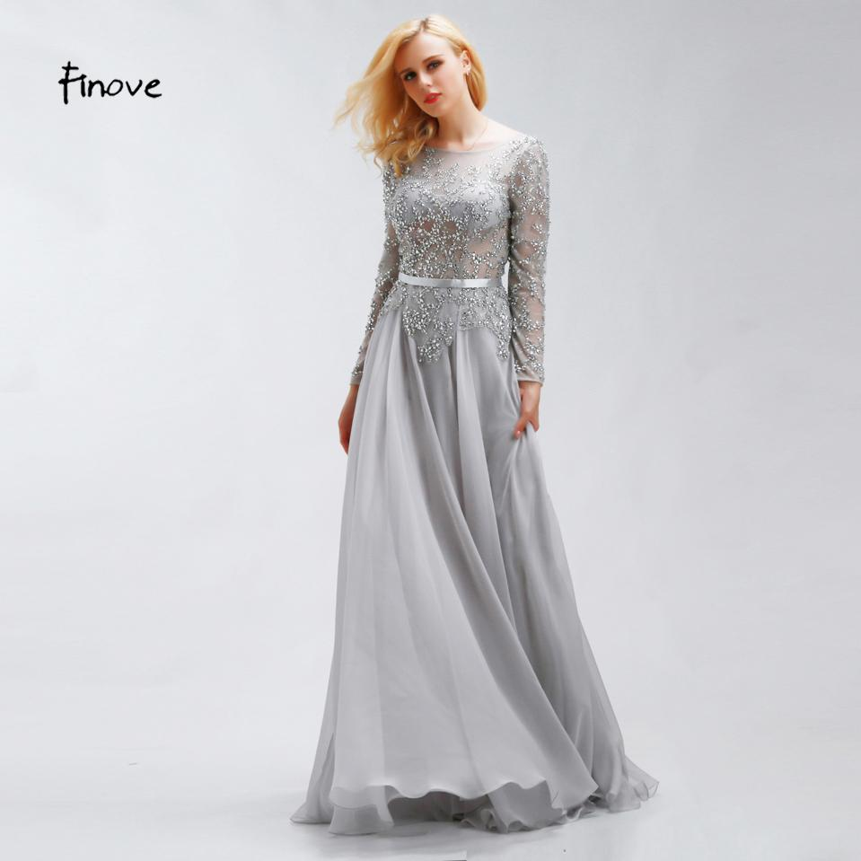 d8e36cc68f Finove Crystal Beading Prom Dresses 2019 New Style Elegant Scoop Neck Sexy  See Through Long Sleeve Chiffon Fabric Party Dresses Missy Prom Dresses  Modest ...