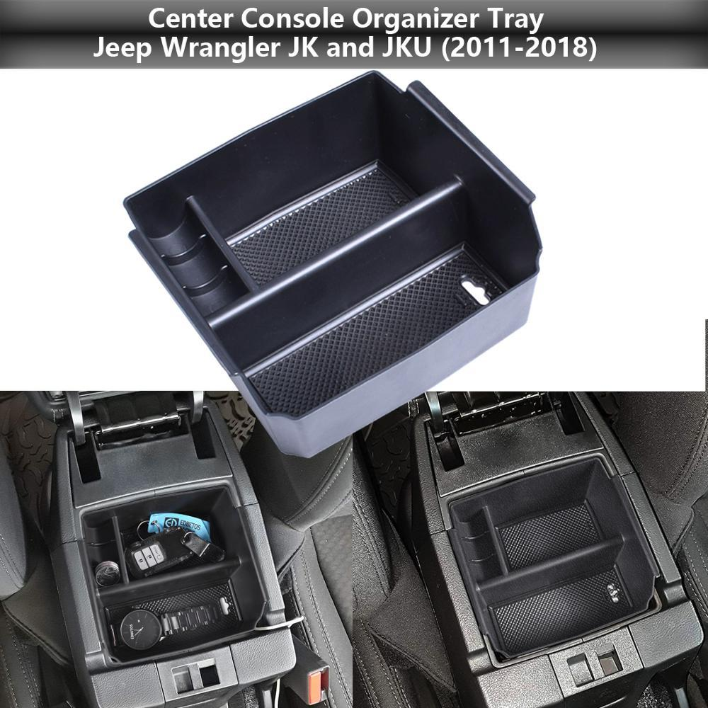 Center Console Organizer Tray for 2011-2018 Wrangler JK and JKU Armrest Storage Glove Box Rubicon Sport Sahara