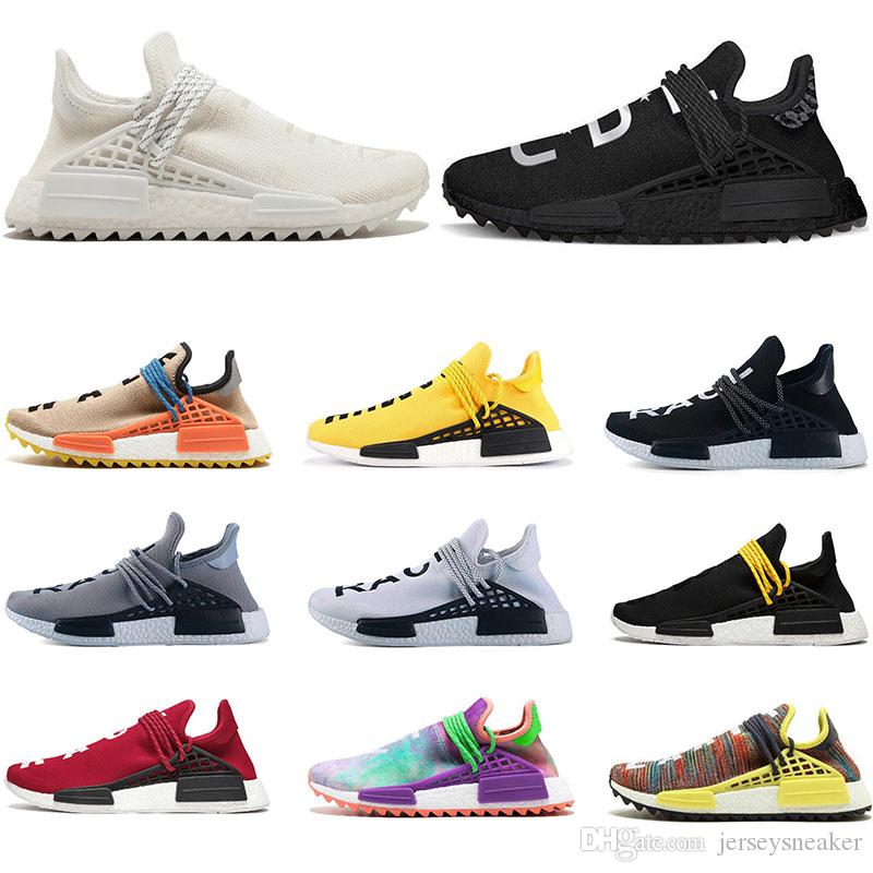 a462204e61be4 2019 Designer Human Race Hu Trail Pharrell Williams Running Shoes Nerd  Black Cream Holi Trainers Mens Women Sports Runner Sneaker Size 36 47 Shoes  For Sale ...