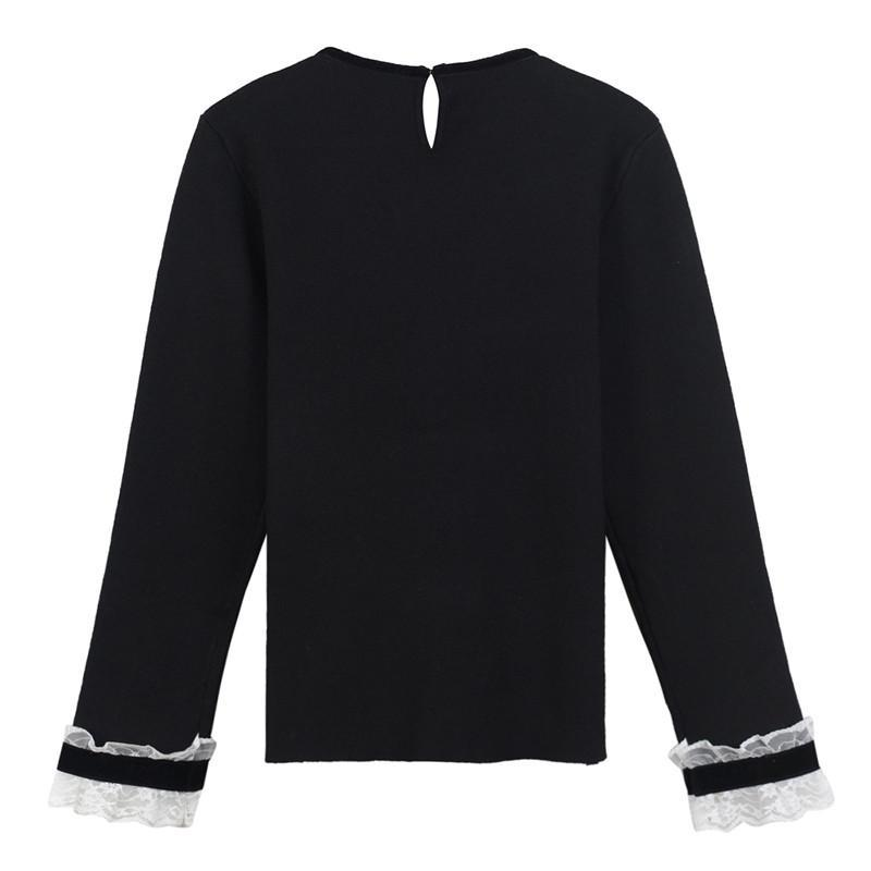 Fashion-Free Shipping 2017 Black Lace Crystals Button Pullover Women Brand Same Style O Neck Long Sleeves Women's Sweaters DH311