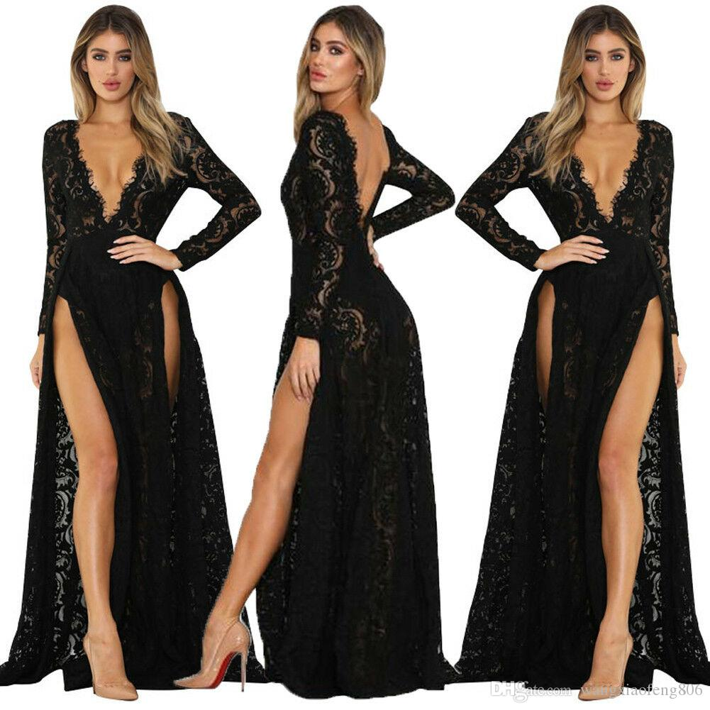 Women Sexy Lace Long Sleeve prom Dress Beach Vintage Maxi Dresses Boho Casual V Neck Hollow Out Formal Party Plus Size Female Dress