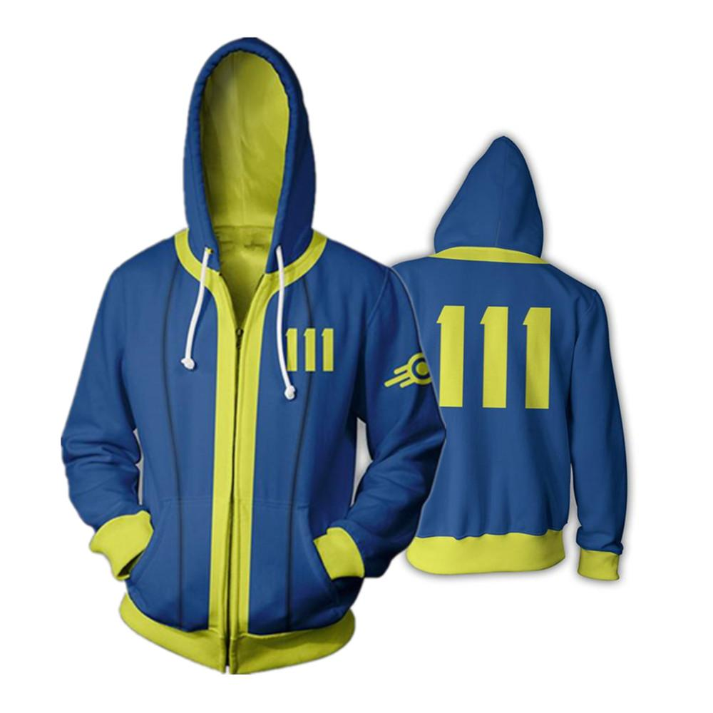 Game Fallout 4 Full Zip Thin Hoodies Sweatshirt 3D Cool Pullover Coat Jacket Unisex Jumper hooded zipper vest Jackets