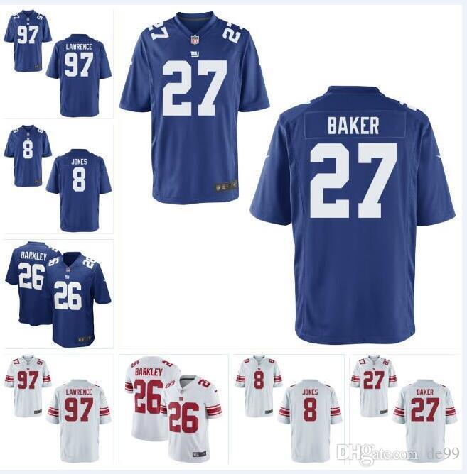 new arrival 15e2a 75b84 8 Daniel Jones 97 Dexter Lawrence NY Giants Jersey Deandre Baker Saquon  Barkley Lawrence Taylor custom american football jerseys all sew