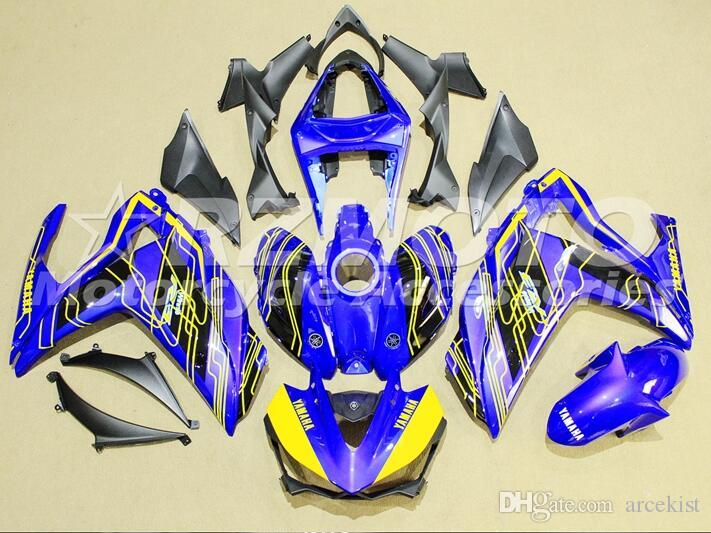 New Injection Mold ABS Motorcycle bike Fairing Kit For YAMAHA R3 R25 2014 2015 2016 14 15 16 Cowlings Bodywork set blue yellow TOP