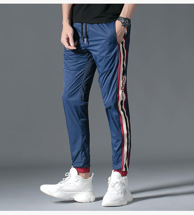 Sport Pencil Pants For Male Summer Active Style Drawstring Clothing Hip Pop Patchwork Capris Apparel
