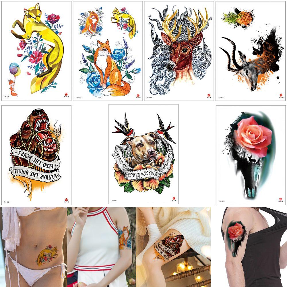 a86960b6c2b2f Fake Animal Waterproof Temporary Tattoo Sticker For Body Art Dog Elk Fox  Rose Henna Flower Pineapple Decal Design Tattoo Sticker Transfer 3D UK 2019  From ...
