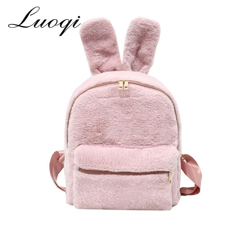Cute Faux Fur Backpack Rabbit Ear Winter Soft Women S Big Furry Fluffy  Plush Backpack Rucksack Sac A Dos Mochilas Mujer 2018 Water Backpack Mesh  Backpack ... dc919bfd37c7a
