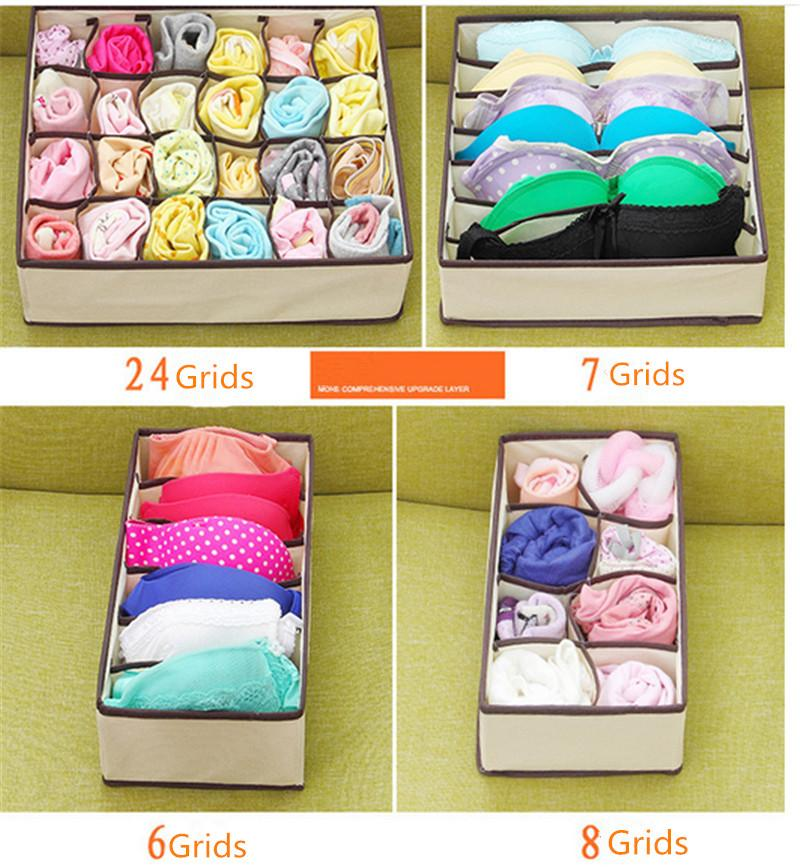 4pcs/Set Underwear Organizer Bra Scarf Socks Home Storage Box 6+7+8+24 Grids Non-woven Foldable Case Drawer Dividers Cube Containers B4252