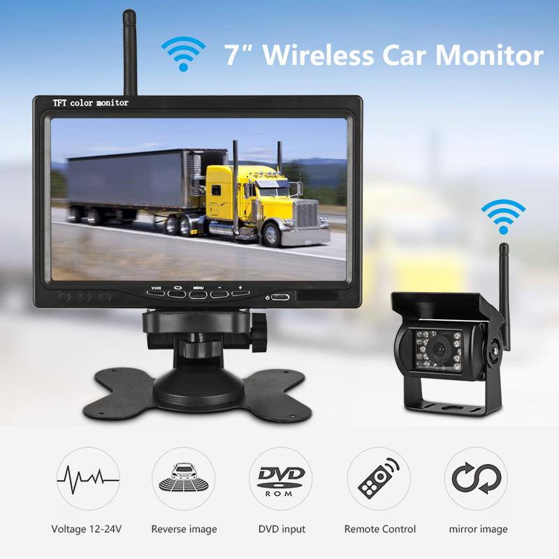 "7"" Wireless Wired TFT LCD Car Monitor HD Display Reverse Camera Parking System For Car DVR Rearview Monitors For Truck work car"