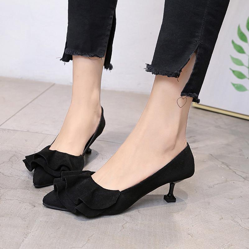 ccae58c4901 Designer Dress Shoes Women Ruffles Flock Strange Heel Pointed Toe ...