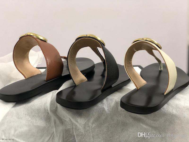 Hakiki derinin slaytlar Kadınlar Flip Deri Kadınlar KUTUSU US11 Çift Metal Siyah Beyaz Brown terlik Yaz Plaj Sandaletler ile sandal flop