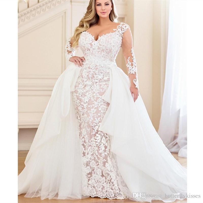 Black Wedding Dress With Detachable Train: 2019 Modern Champagne Satin Sheath Wedding Dresses Sexy V