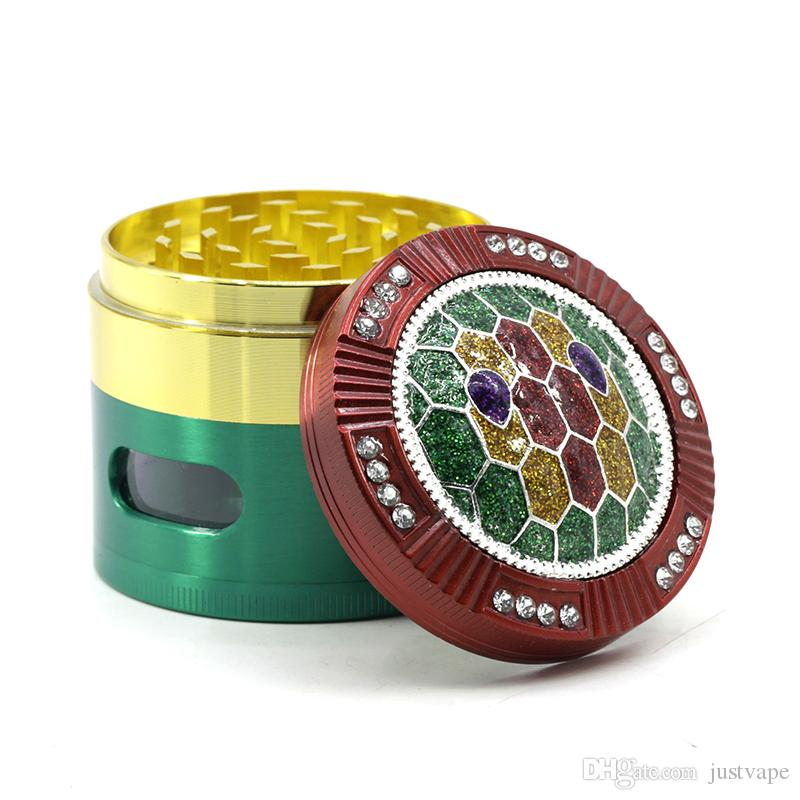 Diamond Grinders Side Window Zinc Alloy 4 Layers 63mm Herb Grinders Tobacco Grinder Colored Patchwork Rolling Paper Turtle Shell Grinder