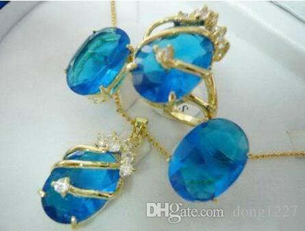 Charming blue crystal pendant necklace ring earring set> gold plated wholesale crystal quartz stone