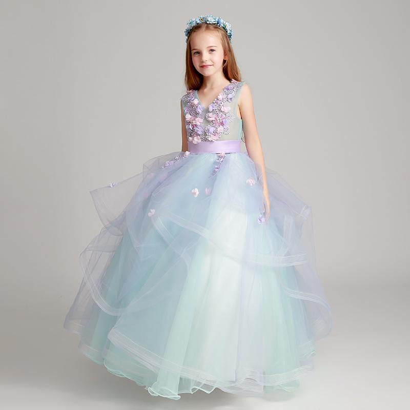 2019 Beautiful Blue 3d Flower Girls Dresses Beaded Lace Appliqued Bows Pageant Gowns For Kids Wedding Party First Holy Communion Dresses