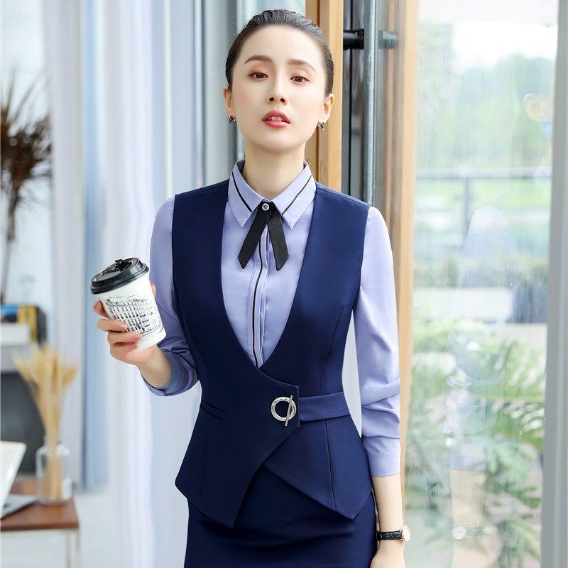 ef425d6d17b0 Moda Azul Marino Estilos de uniforme Chaleco Abrigo Mujeres de negocios  Chaleco Oficina Damas Ropa de trabajo Tops Blazers Ropa Blaser