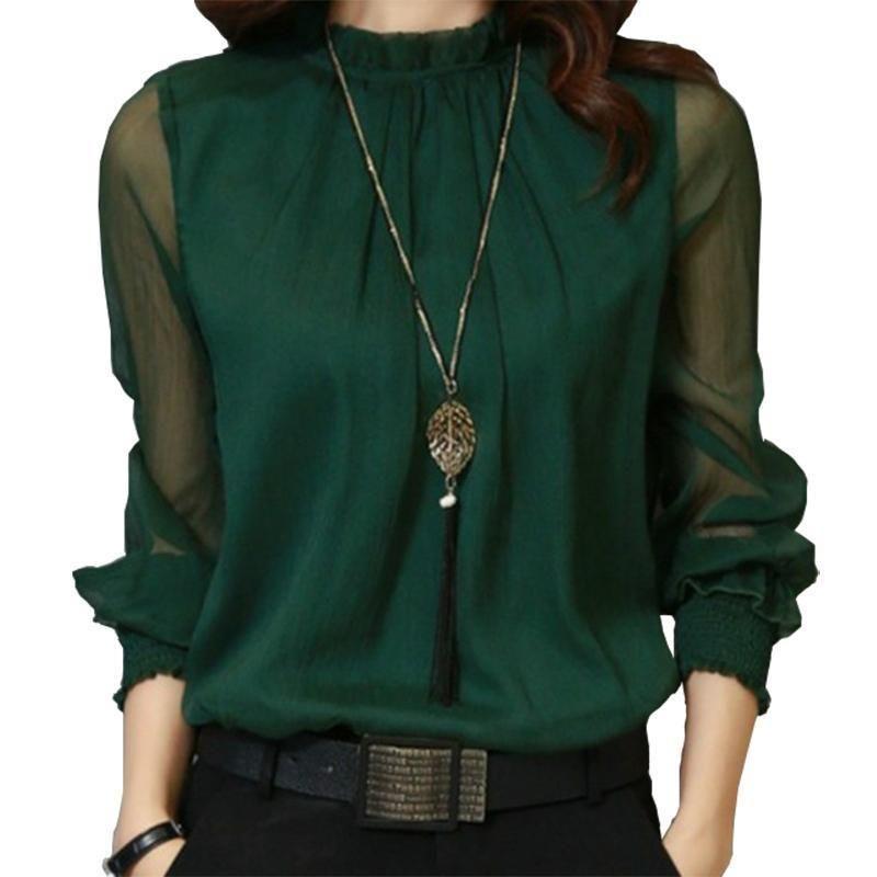 419cc64312e 2019 Women Blouses 2019 Spring Autumn Blusas Shirt Long Sleeve Chiffon Blouse  Shirts Women S Clothing Solid Sexy Mesh Top 3XL GV304 From Jamie13