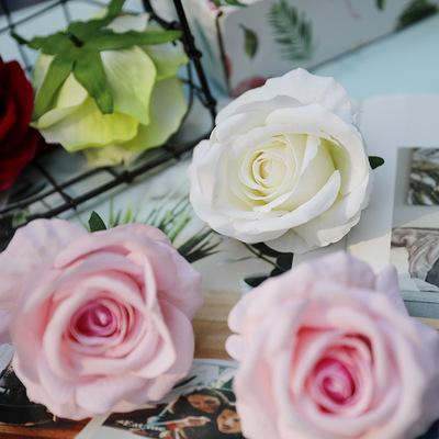 Rose Artificial Flower Head Real Touch Rose Flowers High Quailty Flannelette 8cm Wedding Decorations Fake Flower Home Decor