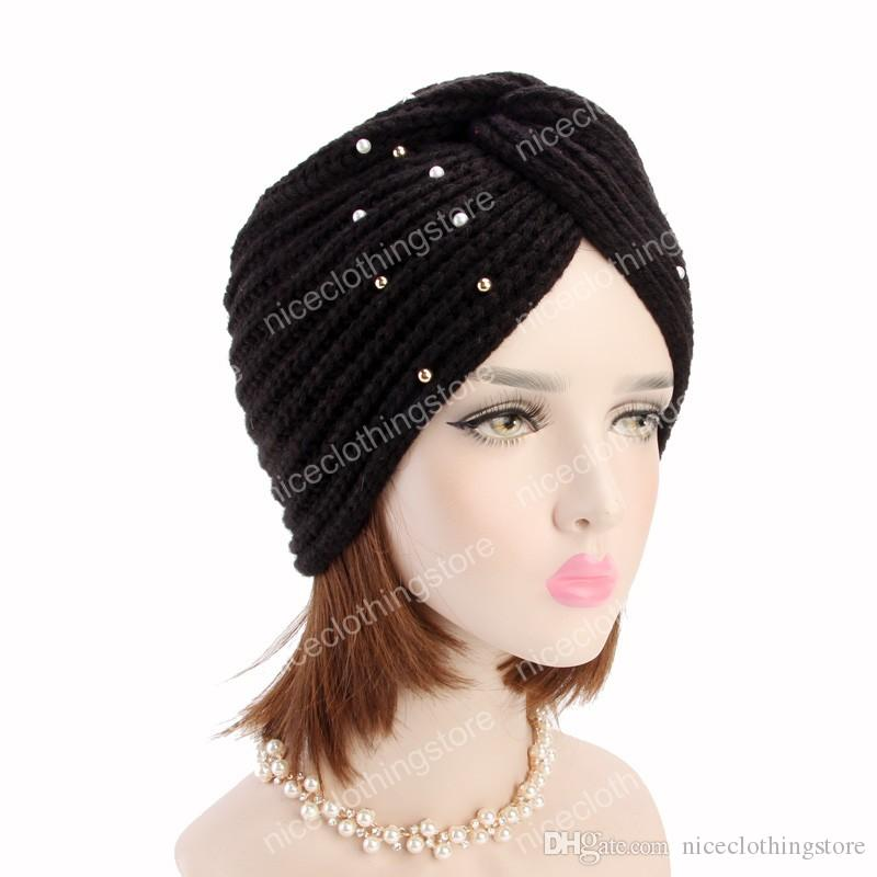 New luxury Women's Winter Warm beaded knit Turban Cross Twist Arab Hair Wrap Beanie for ladies India Style cap hair Accessories