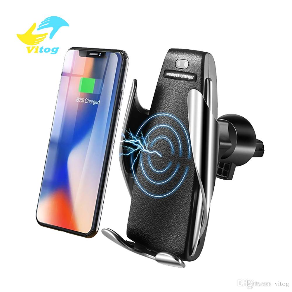 Automatic Sensor Car Wireless Charger For IP 6 7 Xs Max Xr X Samsung S10 S9 Intelligent Infrared Fast Wirless Charging Car Phone Holder