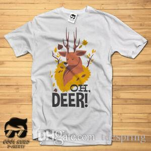 Mens T-shirt Print Oh Deer DTG Fancy cool TShirt Tees high quality graphic
