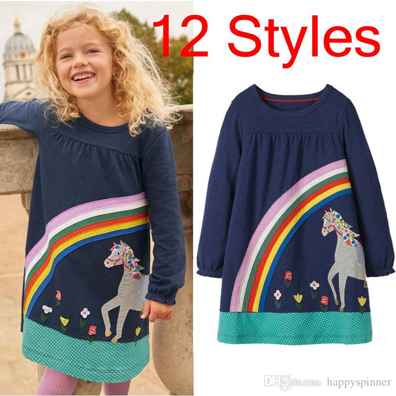 Factory Direct 2019 Autumn New Cotton Princess Dress Style Girl Dress Cartoon Cute Long Sleeve Children's Dress