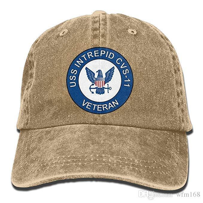 2019 New Custom Baseball Caps Mens Cotton Washed Twill Baseball Cap US Navy  USS Intrepid CVS-11 Ship Veteran Hat