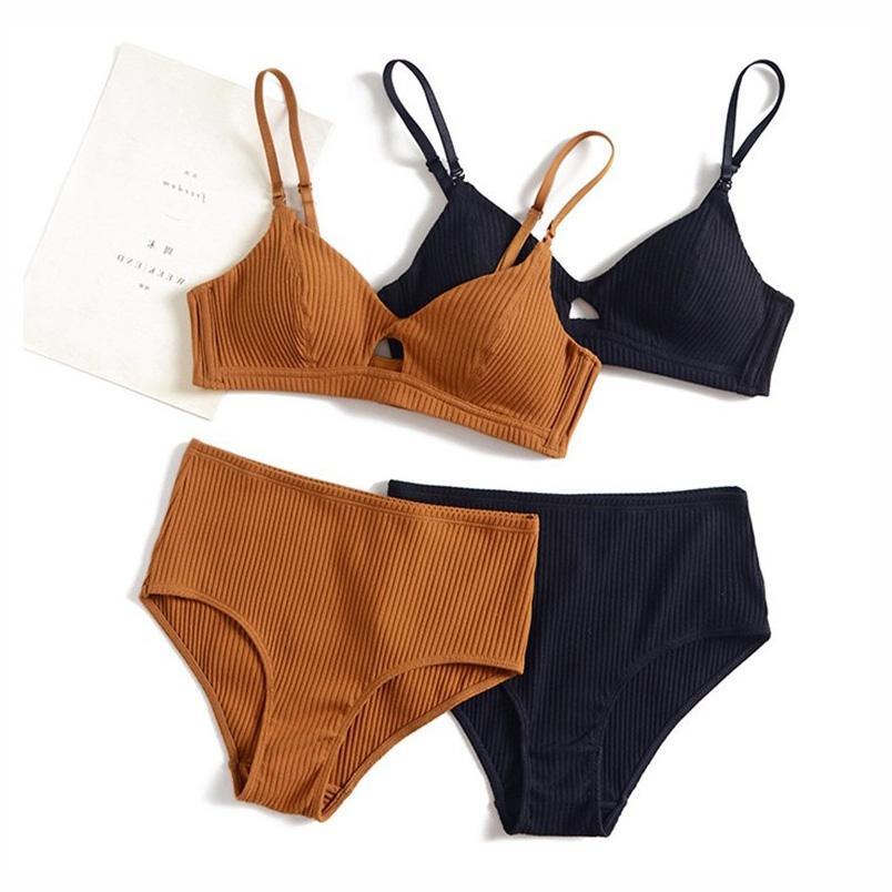 1ae45c006 Compre 5 Cores 95% Algodão Sutiã E Cintura Alta Calcinha Mulheres Sexy  Intimates Francês Tarja Sem Costura Conforto Feminino Lingerie Conjuntos De  Sutiãs De ...