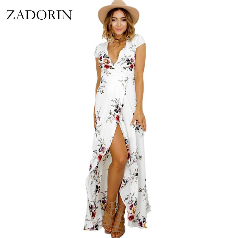 3ad91bd121 2019 Hotsale Long Summer Beach Dress Women Sexy Deep V Floral ...
