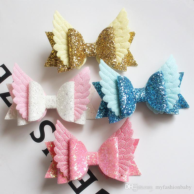 New Baby Bow Hair Glitter Big Size 10.5cm Kids Angle Wings Hairpin PU Leather Hairpin Modish Girls Prince Hair Clip Bowknot Clip