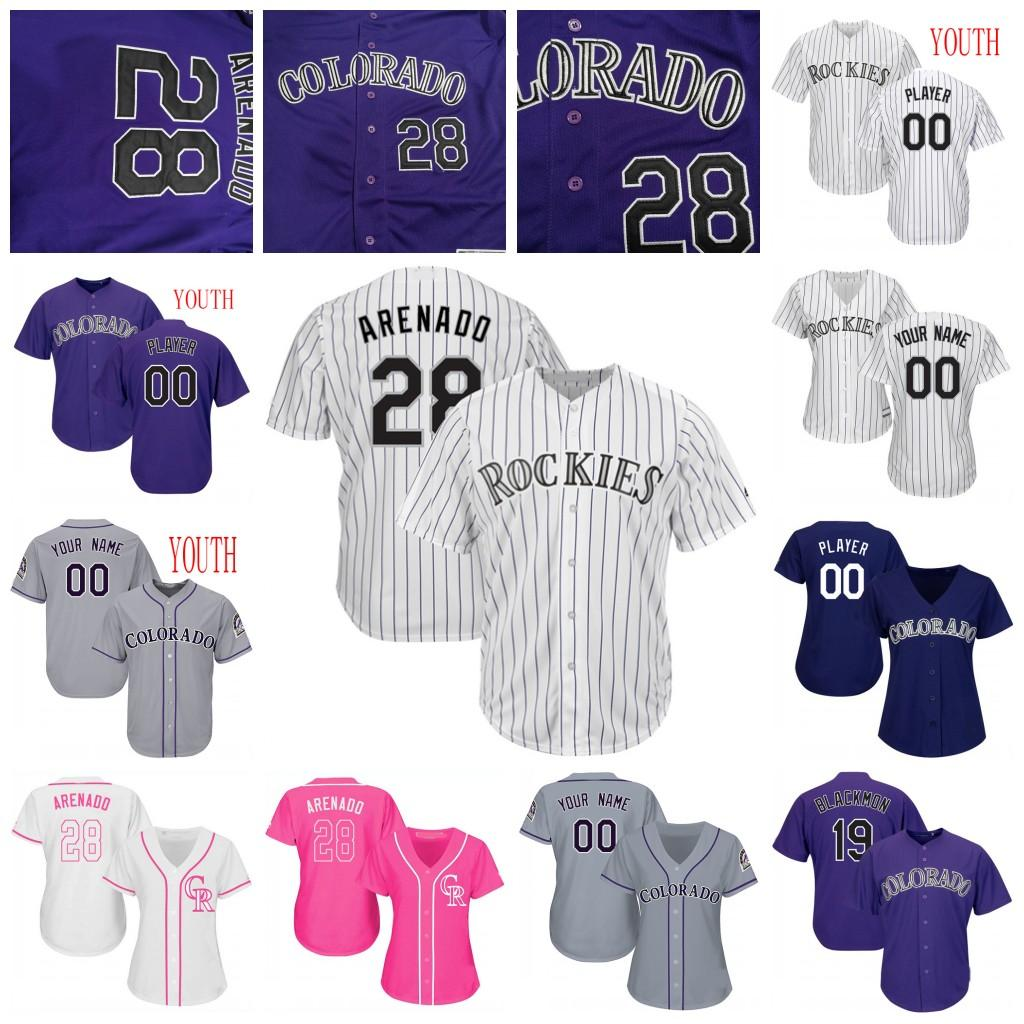 Custom women Youth Colorado Nolan Arenado Rockies Charlie Blackmon Trevor Story Freeland Desmond Daniel Murphy Baseball Jersey ladies shirt