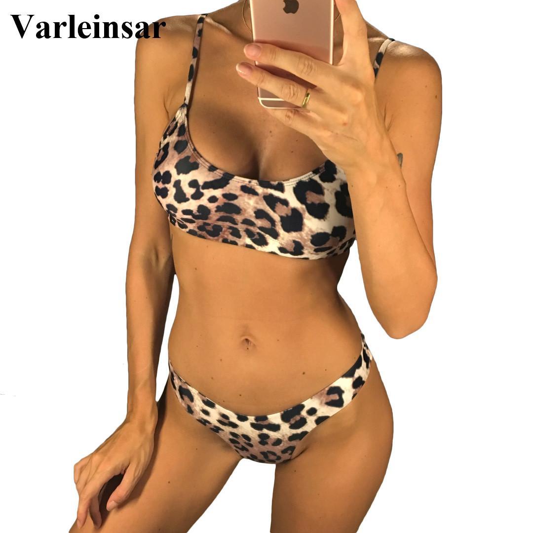 f8bb430cd3 Sexy Leopard 2019 Bikini Women Swimwear Female Swimsuit Two-pieces Bikini  set Brazilian Bather Bathing Suit Swim Wear V871