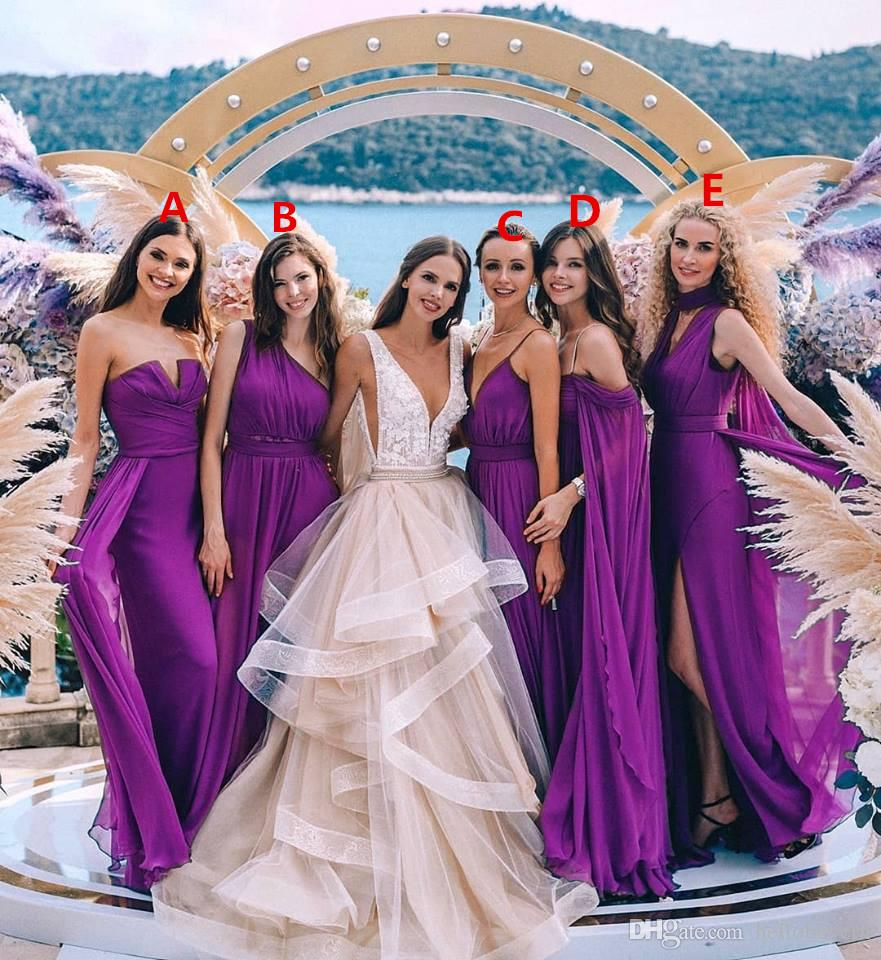 Cheap Purple Bridesmaid Dresses Long Different Styles Same Color 2019 New  Arrival Chiffon Formal Evening Party Prom Dresses Off The Shoulder  Bridesmaid ... 073e4b28cadb