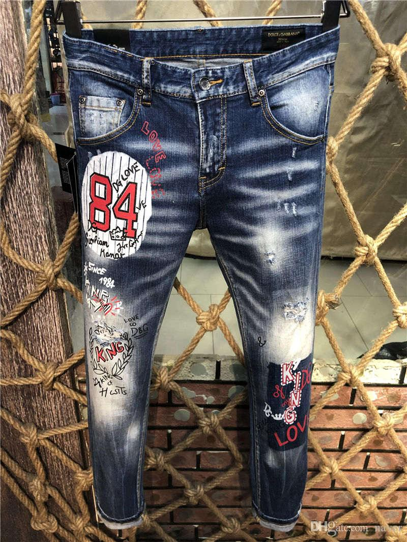 c95fb5dc62 2019 New Arrival Top Quality Designer DG Men Denim Jeans Embroidery ...