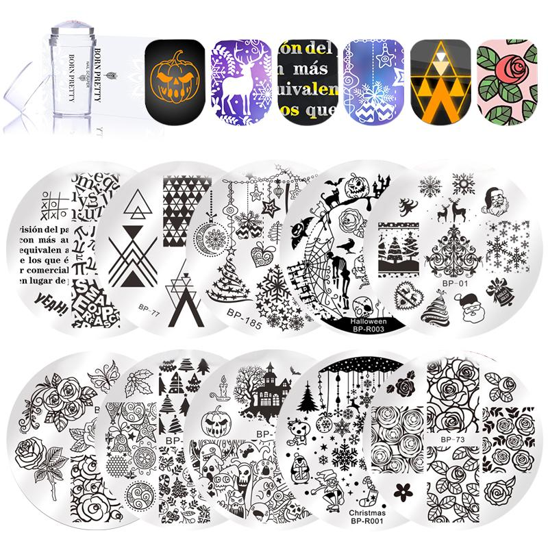 wholesale 12Pcs Stamping Nail Set Christmas Halloween Alphabet Theme Nail Art Stamp Template Image Plate Manicure Designs