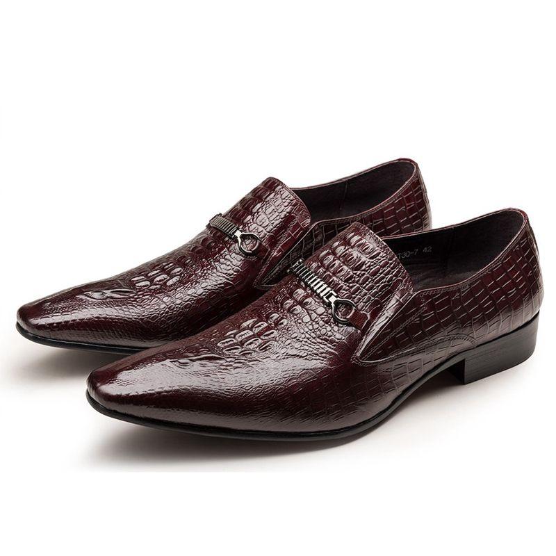 9c644452 Compre Nuevos Zapatos De Vestir De La Vendimia Para Los Hombres Zapato De  Cuero Genuino Gris Clásico De La Oficina De La Boda Zapatos De Patrón De  Cocodrilo ...