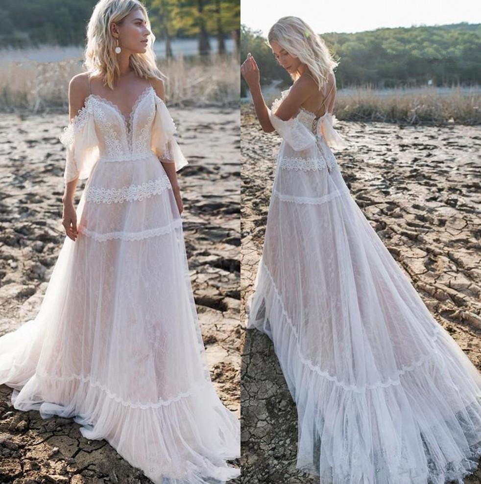 Off Shoulder Bohemian Lace Beach High Low Wedding Dress Bridal Gowns Plus Size