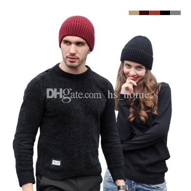 New Men and women unisex beanie High quality rabbit velvet core yarn snapback hats Winter warm hat 5 colors.