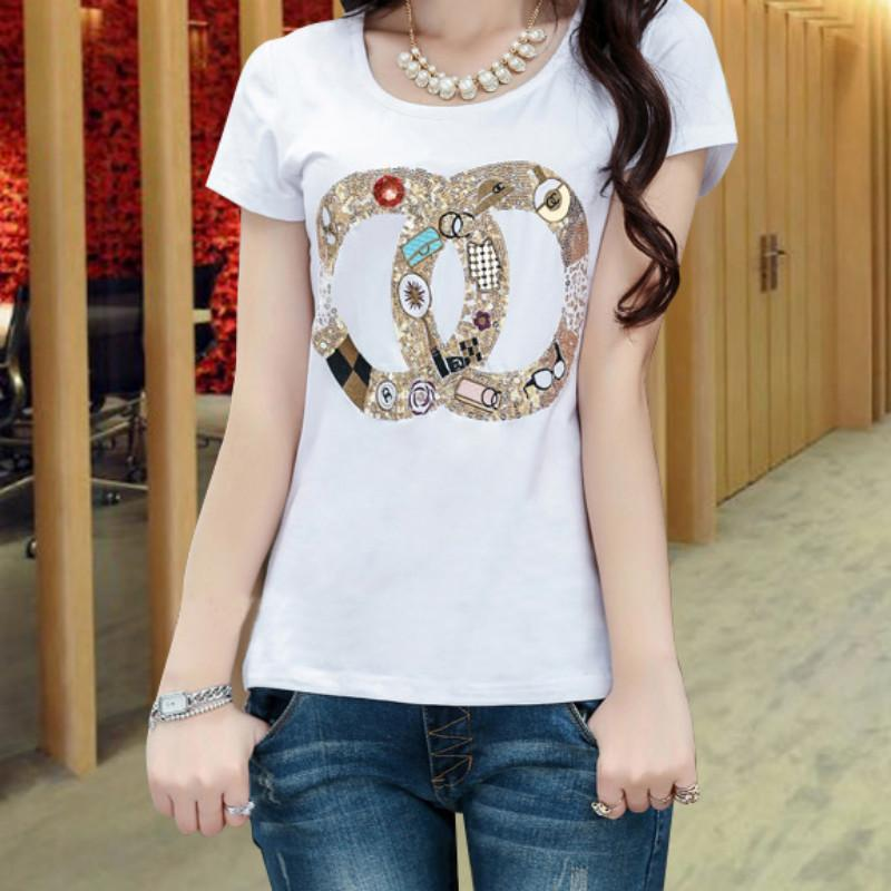 1cb35a84 2019 New Summer Fashion For Women Short Sleeve Sequin Beading Cotton Tops  Tees Girls T Shirts White M 2XL Funny T Shirts Prints Funky T Shirt Design  From ...