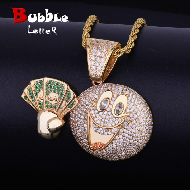Happy Emoji Canary Face Money Dollar Cash Iced Pendant Necklace Tennis Chain Bling Cubic Zircon Men's Hip hop Jewelry GIFT
