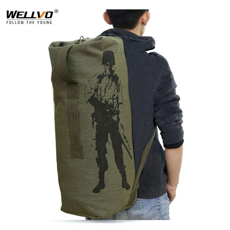 ilitary canvas backpack Men's Travel Bag Army Bucket Bags Multifunctional Backpack Military Canvas Backpacks Large Duffle Men Shoulder Ba...