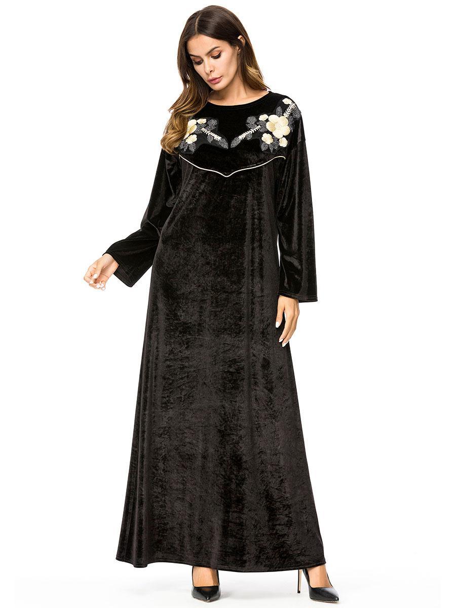 187261 Baju Muslim Simple Robes Korean Velvet Long Sleeved Solid Color Dress Isulusulu Ni Marama Vakaveiwekanitaka Moslimvrouwen Jurk