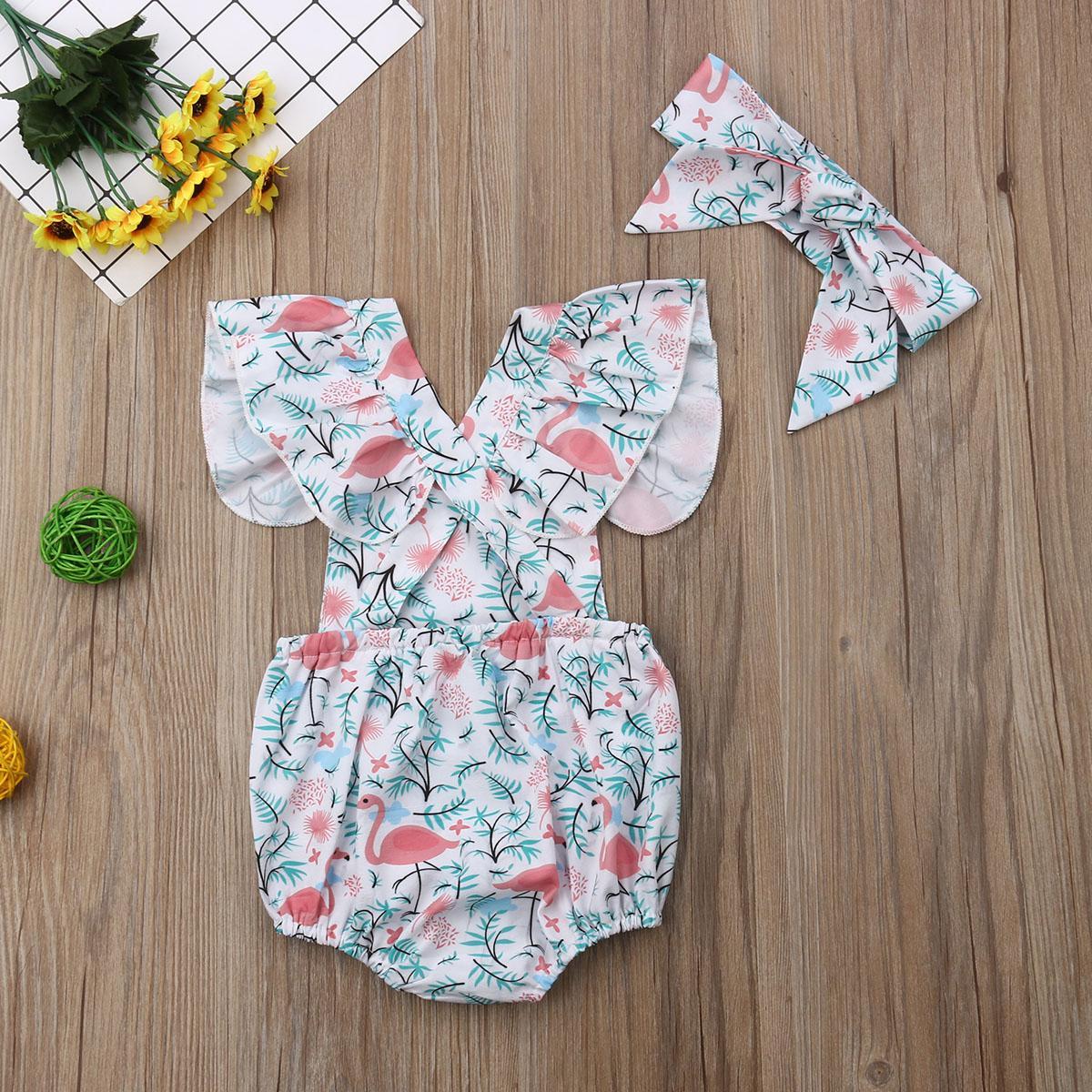 Focusnorm 0-24M neue Art und Weise Neugeborenes Baby Flamingo Spielanzug-Karikatur-Quadrat-Kragen-Stirnband-Sommer-Outfits Kleidung