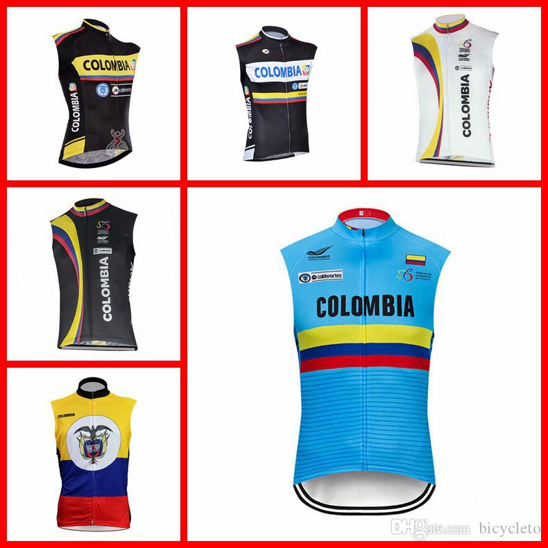 5261270f3 Colombia Team Cycling Sleeveless Jersey Vest Mtb Bicycle Clothes Ropa  Ciclismo Racing Bike Shirts Riding Wear Men SportsWear N227-7 Colombia Cycling  Jersey ...
