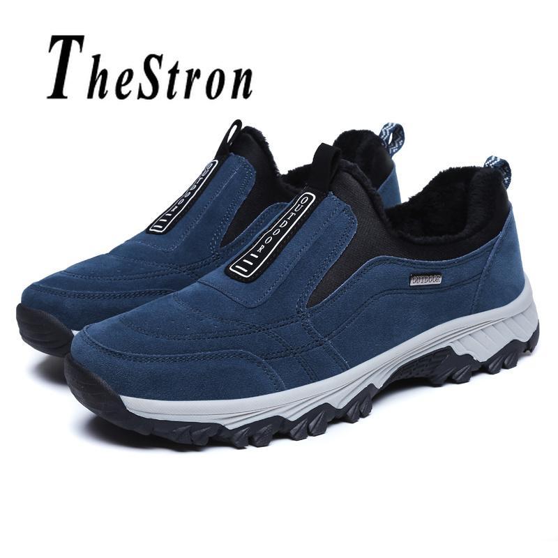 huge discount 34ff1 67e69 Compre Hombre De Invierno Zapatos Para Caminar De Piel Negro Azul Roca  Zapatos De Escalada Cómodos Zapatillas De Deporte De Viaje Para Hombre  Zapatillas De ...